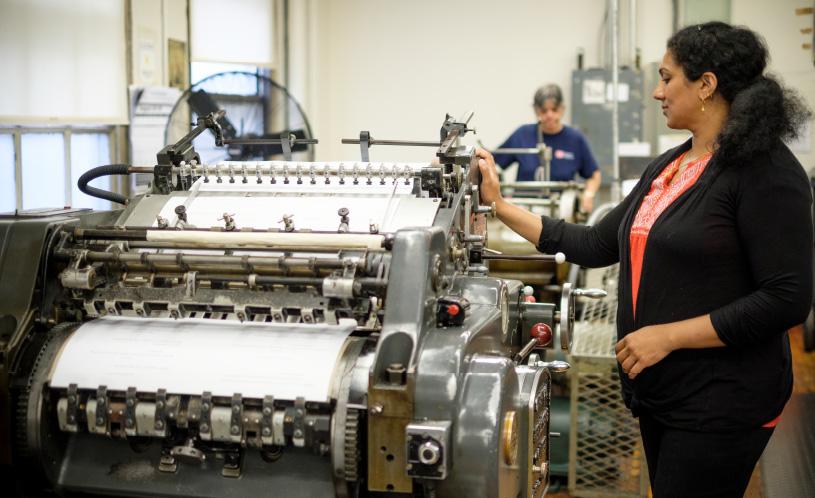 Braille machine operator and press