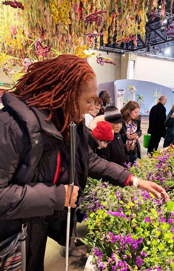 woman touching plants
